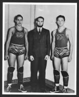 Bob Dole, Coach Harold Elliott, and Bud Smith of the Russell High School Basketball Team