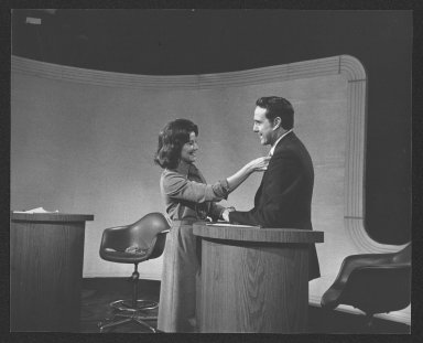 Senator Bob Dole and Elizabeth Dole preparing for Houston, TX debate, 1976
