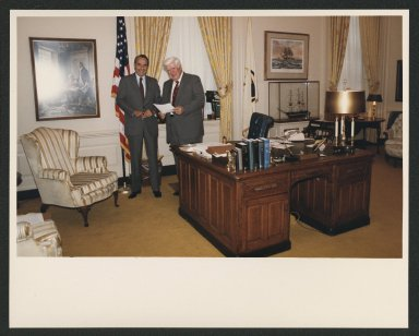 Senate Majority Leader, Bob Dole meeting with Speaker of the House Tip O'Neill of the House Tip O'Neill, 1985
