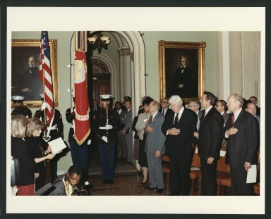 Senator Bob Dole, President Gerald Ford , Tip O'Neill and others attending dedication of Ford bust, 1985