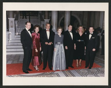 Doles, George H.W. Bush, and Reagans attending dinner at the Library of Congress,