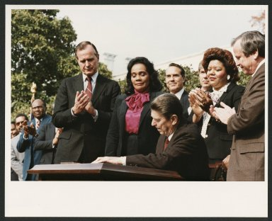 Senator Bob Dole observing Martin Luther King Day Legislation, 1983