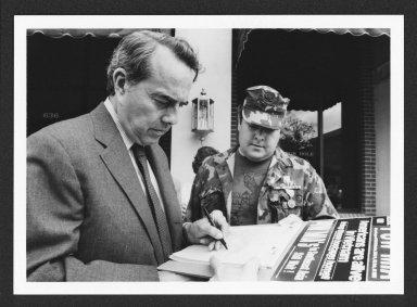 Senator Bob Dole signing POW/MIA petition, 1985