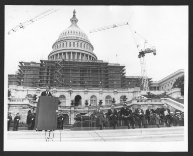 Bob Dole speaking at Capitol, MIA-POW Ceremony, 1986