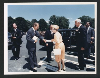 Senator Bob Dole welcoming Queen Elizabeth II, Great Britain, 1981