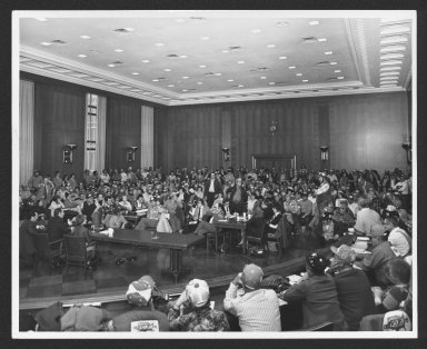 Senator Bob Dole addressing farmers at Senate Agriculture Committee Hearings, 1979