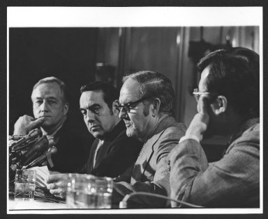 Senator Bob Dole and Senator George McGovern, Senate Committee hearing, 1980