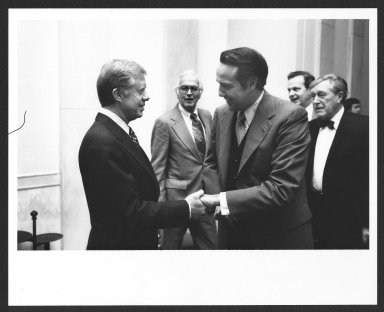 Senator Bob Dole shaking hands with President Jimmy Carter, 1979