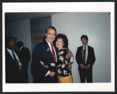 Senator Bob Dole and wife, Elizabeth sharing a hug, 1988