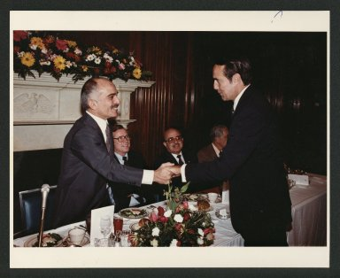 Senator Bob Dole greeting King Hussein of Jordan, 1982