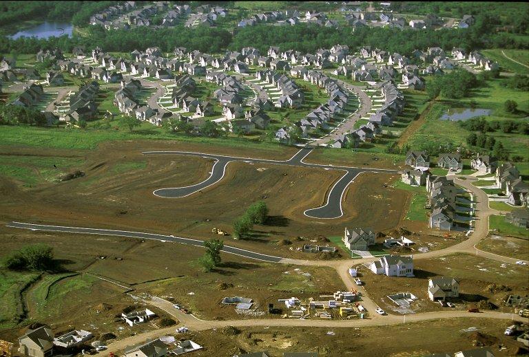 Subdivision under construction, new cul-de-sacs