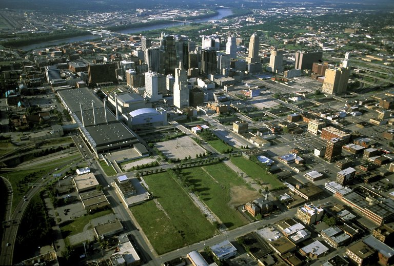 Downtown Kansas City, Missouri, future site of the performing arts center