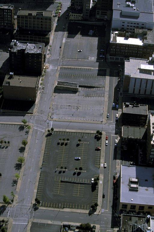 Surface parking in downtown Kansas City, Missouri