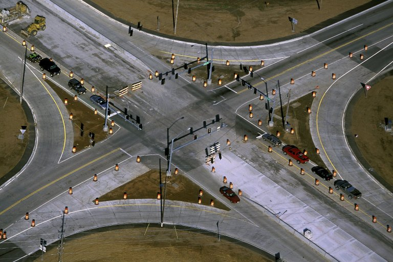 Intersection under construction