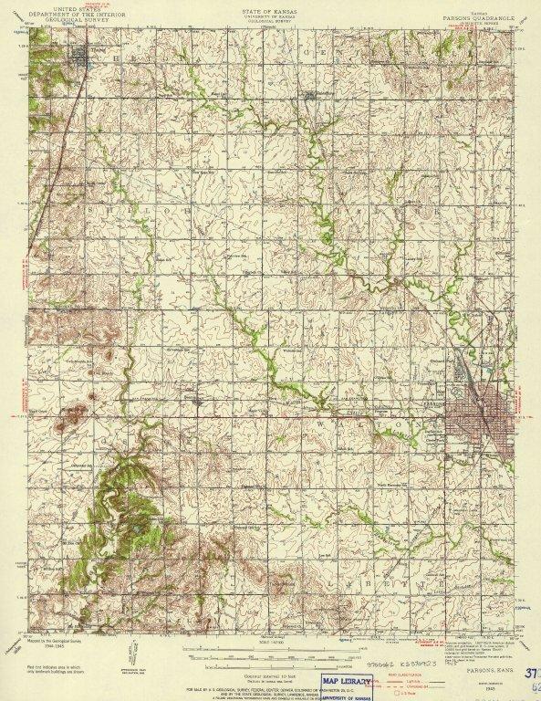 [Parsons quadrangle, Kansas : 15-minute series, Parsons, Kans.]