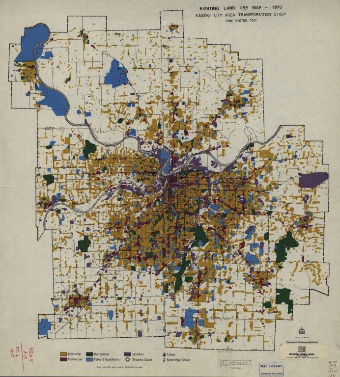[Existing land use map - 1970, Kansas City area transportation study, zone system 7001, Kansas City area transportation study]