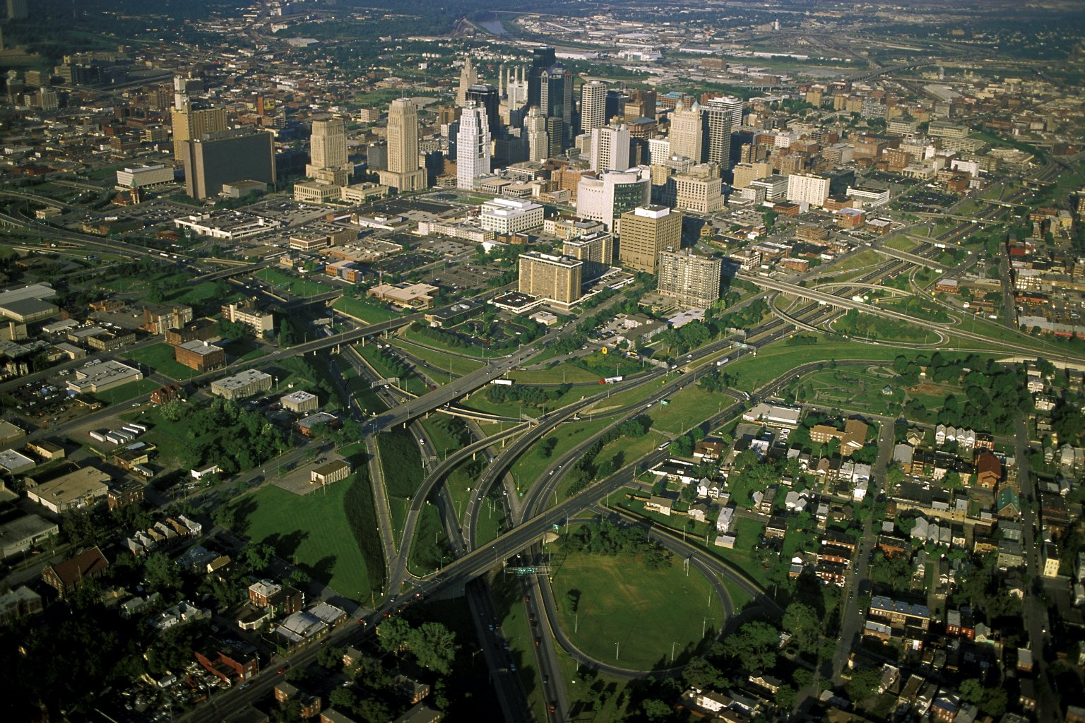 Downtown Kansas City, Missouri with Columbus Park at lower right
