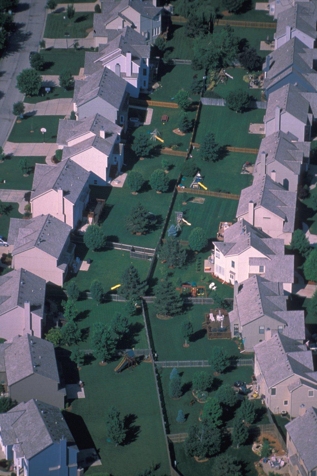 Subdivision backyards in Grandview, Missouri